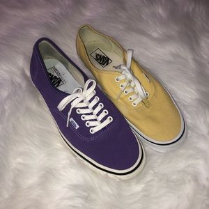Vans off the walls mis match purple & yellow 11